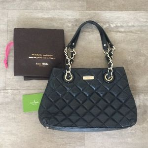 Authentic Kate Spade Black Quilted Gold Coast Bag